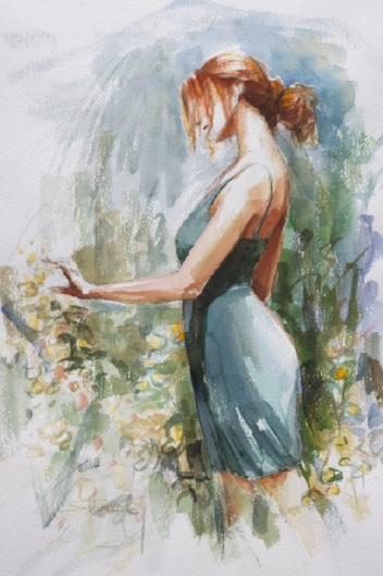 quiet contemplation woman country garden spring beauty steve henderson watercolor art