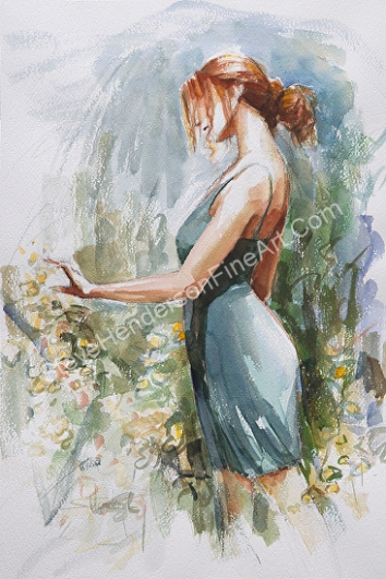 Quiet Contemplation inspirational original watercolor of young woman in flower garden with abstract background by Steve Henderson