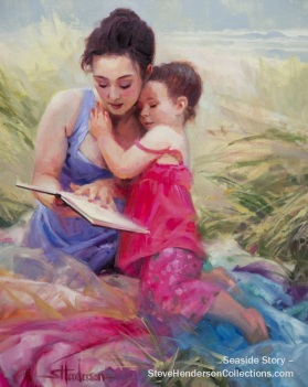 seaside story mother child reading beach coast family steve henderson art