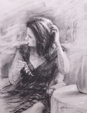 The Hair Pin inspirational original charcoal painting of woman sitting at table by Steve Henderson