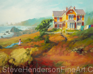 Wild Child inspirational original oil painting of little girl by Victorian ocean beach house by Steve Henderson, licensed wall art home decor at amazon.com, framed canvas art, art.com, allposters, and icanvas