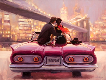 You Are the One inspirational original painting of couple in red car hugging by New York skyline by Steve Henderson
