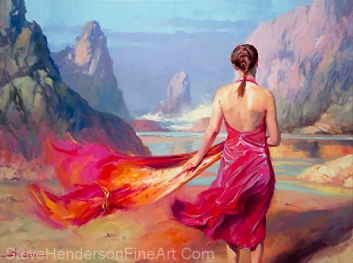 Cadence inspirational oil painting of young woman on ocean beach in pink dress by Steve Henderson