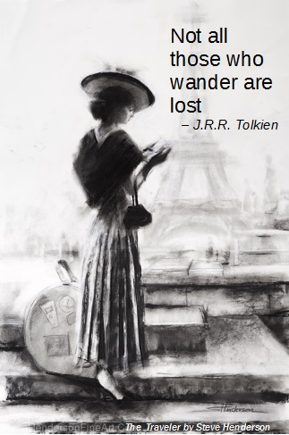 The Traveler woman in hat with guidebook in Paris by Steve Henderson