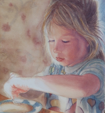 Jesus is not something that we own, but a Person whom we know. Breakfast, original watercolor by Steve Henderson