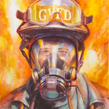Firefighter, commissioned watercolor painting by Steve Henderson.
