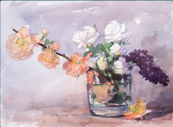Early Blossoms original watercolor painting of shabby chic flowers in glass