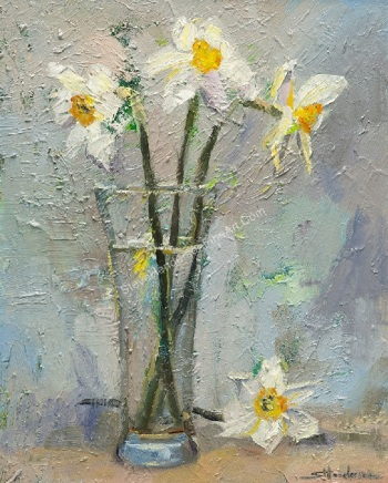 Floral texture original oil painting, shabby chic daffodils in a glass by Steve Henderson