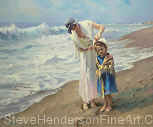 Beachside Diversions woman and child on ocean beach with nostalgia hat by Steve Henderson