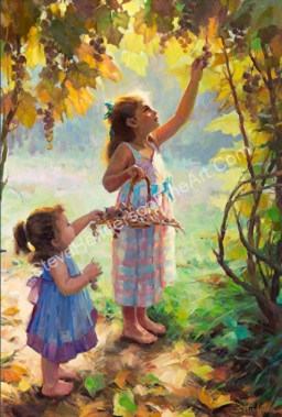 The Harvesters two children picking grapes on a sunny autumn day by Steve Henderson