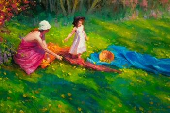 dandelions country green meadow girl mother family steve henderson art