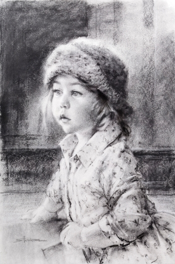 Curiosity little girl in hat toddler charcoal drawing by Steve Henderson