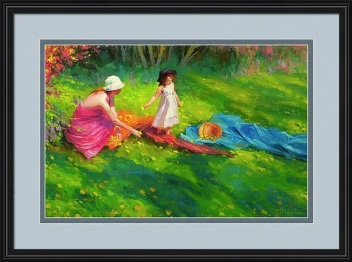 dandelions spring little girl mother child green grass flowers Steve Henderson impressionism representational
