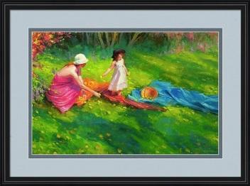 dandelions spring little girl mother child green grass flowers Steve Henderson impressionism representational