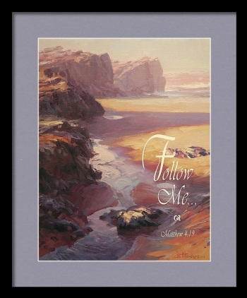 follow me Jesus beach footprints ocean inspirational impressionism Steve Henderson painting