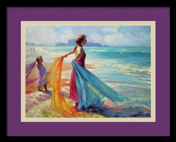 mom child daughter ocean surf fabric teaching steve henderson impressionism