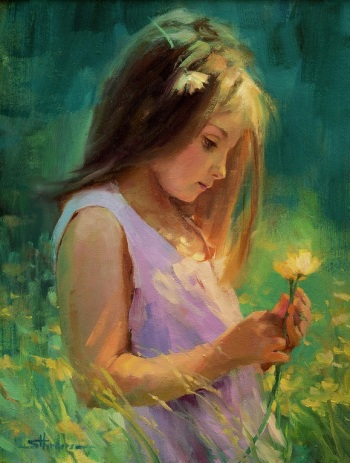 hailey-child-girl-holding-flower-thinking-steve-henderson-figurative-art-home-decor