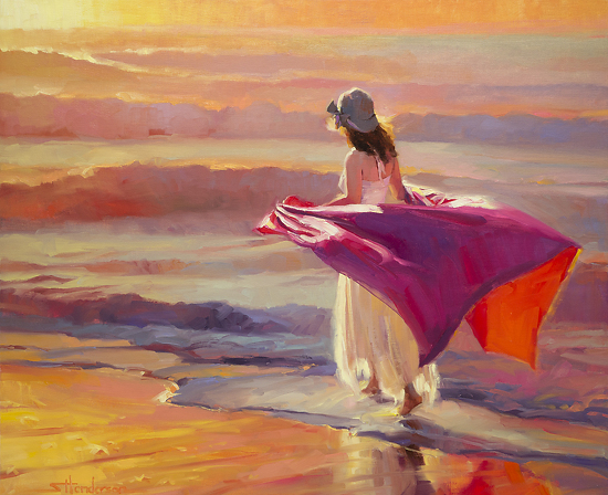 catching breeze woman walking beach coast sand surf sunset steve henderson art