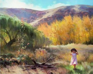 childhood effervescence country girl play pretend steve henderson art