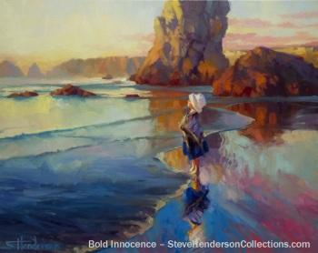 bold innocence child standing beach coast ocean dreaming trust