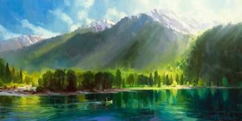 peace wilderness mountain lake canoe quiet painting steve henderson wallowa