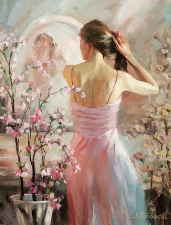 evening date celebration event anticipation steve henderson woman pink romantic art
