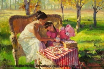 afternoon tea party mother child country family steve henderson art decor