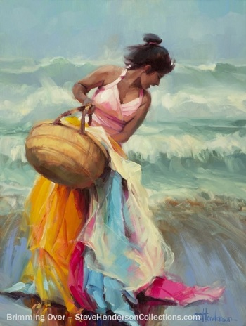 brimming over woman laughing basket fabric coast beach ocean steve henderson art