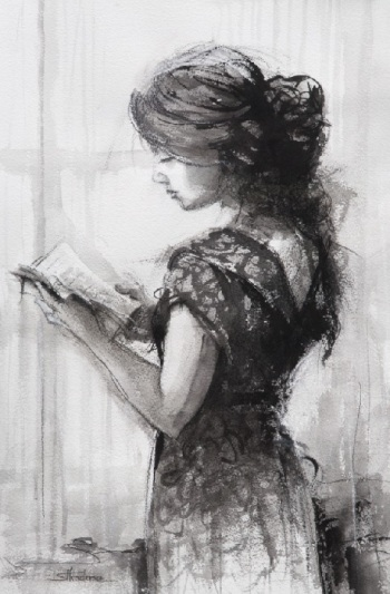 reading novel book woman thinking thoughtful literacy steve henderson figurative drawing