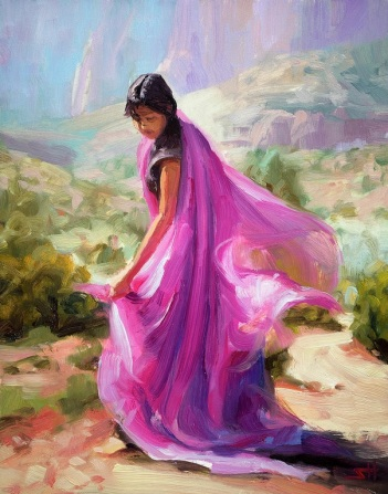 magenta zion woman dancer indian southwest art print steve Henderson
