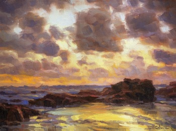 pacific storm ocean beach coast storm clouds steve henderson art painting