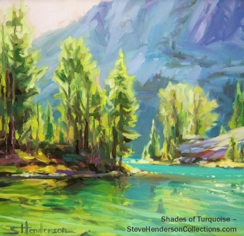 shades turquoise lake alpine mountain hiking camping wilderness steve henderson art