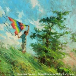 summer breeze country boy flying kite freedom steve henderson art painting