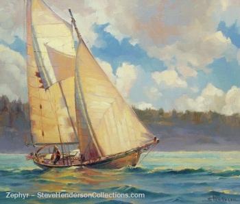 zephyr sail sailing boat vessel schooner sea ocean steve henderson art