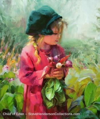 child eden summer garden green hat innocence country steve henderson