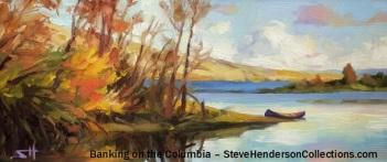 banking columbia river canoe picnic island river steve henderson landscape art
