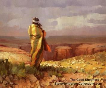 good shepherd indian grand canyon sheep southwest steve henderson desert art