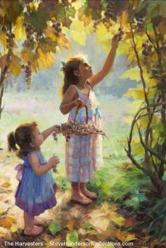 harvesters sisters girls friends picking grapes steve henderson art