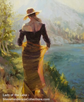 lady lake woman alpine wilderness mountains independence steve henderson art