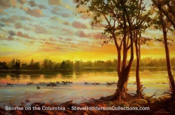 geese sunrise river columbia country morning dawn river steve henderson art