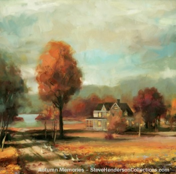 autumn memories fall country home rural farm steve henderson painting