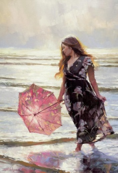 silver sea coast beach ocean woman umbrella wading steve henderson art