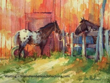 waiting horses barn farm country ranch steve henderson painting