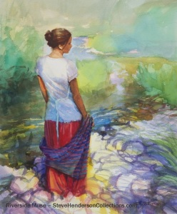 river muse woman thinking country stream henderson art