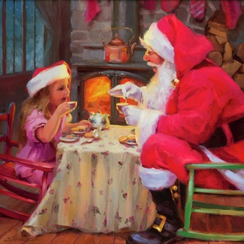 santa christmas holidays season girl tea party magical steve henderson art