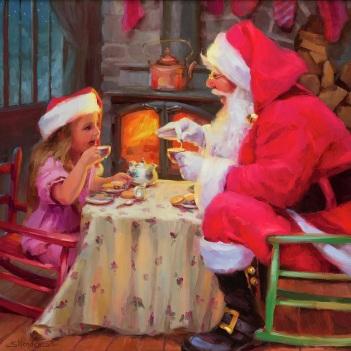 santa christmas holidays season girl tea party magical steve henderson art