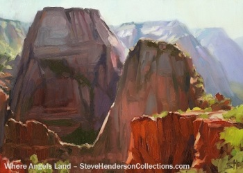 angels landing zion national park hiking steve henderson painting