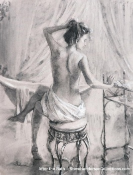 bath bathe woman relaxing spa towel tub steve henderson serene art