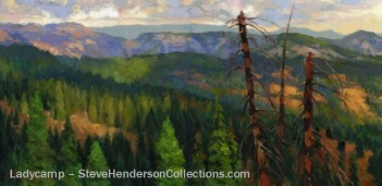 ladycamp wilderness mountain forest woods trees countryside steve henderson art
