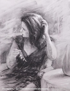hairpin beautiful woman thinking nostalgic innocence steve henderson drawing